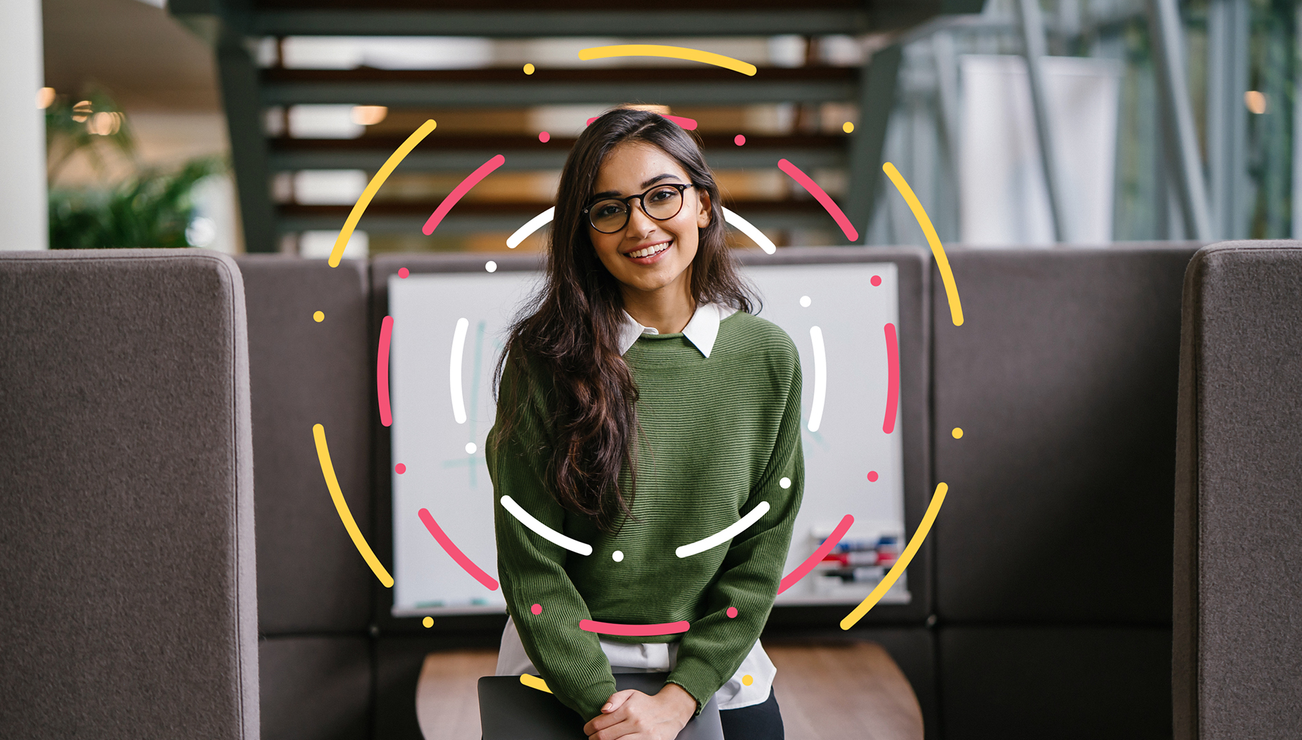 Picture of a Girl in a Green Jumper with glasses